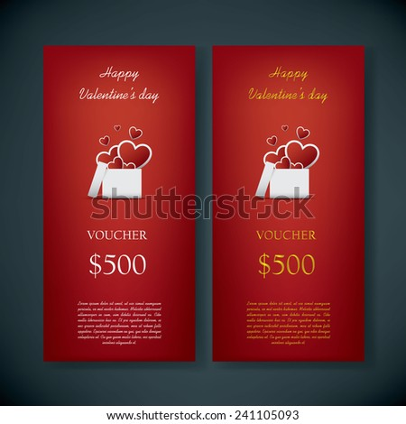 Valentine's day gift card voucher template with traditional background, present and space for your text. Eps10 vector illustration - stock vector