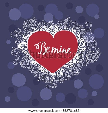 Valentine's Day Greeting card. Heart of floral curls. Vector background - stock vector