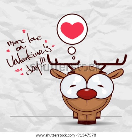 Valentine´s day greeting card with funny cartoon deer and heart on a paper-background. - stock vector