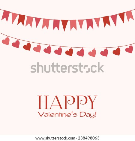 Valentine's Day greeting card with garlands - stock vector