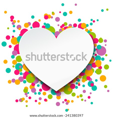 Valentine's day greeting card with paper heart. Vector illustration. - stock vector