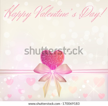 Valentine's Day greeting card with ribbon bow and swirly pink heart - stock vector