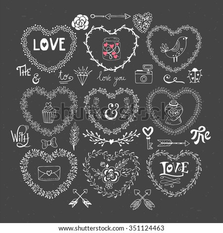 Valentine's day hand drawing elements for design. Isolated vector illustration - stock vector