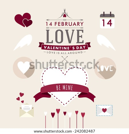 Valentine's Day hand drawn set vintage style vector design elements - stock vector
