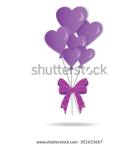 Valentine's day heart balloons isolated on white background. Vector illustration isolated on white background. Vector illustration - stock vector