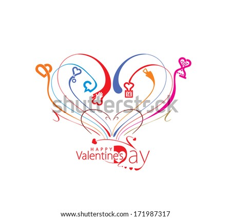Valentine's Day Heart Design, Vector Illustration.  - stock vector