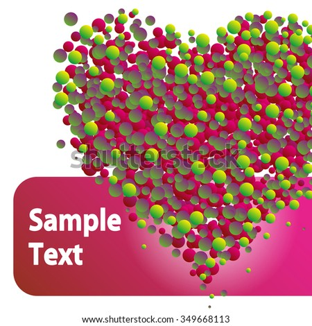 Valentine's Day heart from colored circles no background with empty place for an inscription, text, greetings, vector illustration card - stock vector