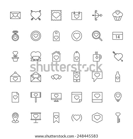 Valentine's Day Heart Outline Icon Set - stock vector