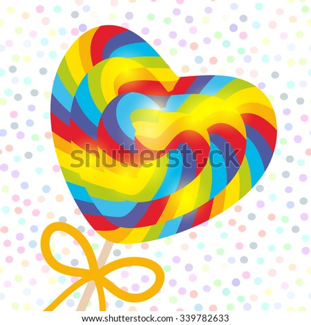 Valentine's Day Heart shaped candy lollipop with bow, bright rainbow stripes, colorful spiral candy cane. on stick with twisted design on white abstract geometric retro polka dot background. Vector - stock vector