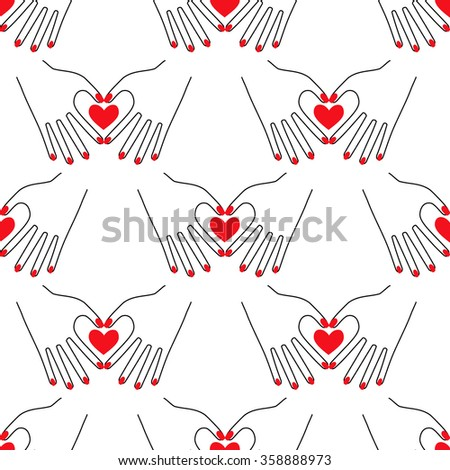 Valentine's day hearts background. Female hands in the form of heart on white background. Seamless hand pattern. Girlish illustration with red nails. Trendy fashion illustration. Victory sign. - stock vector
