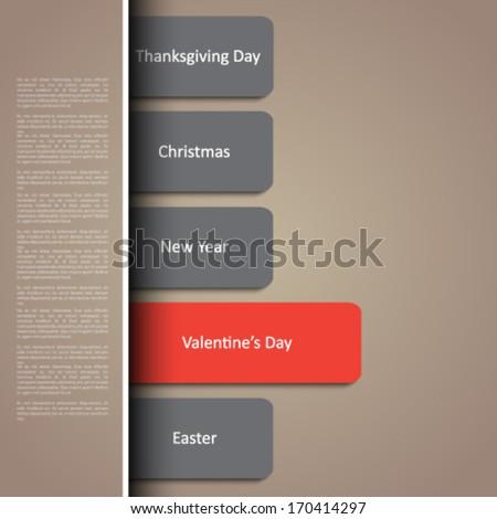 Valentine's day holidays calendar - stock vector