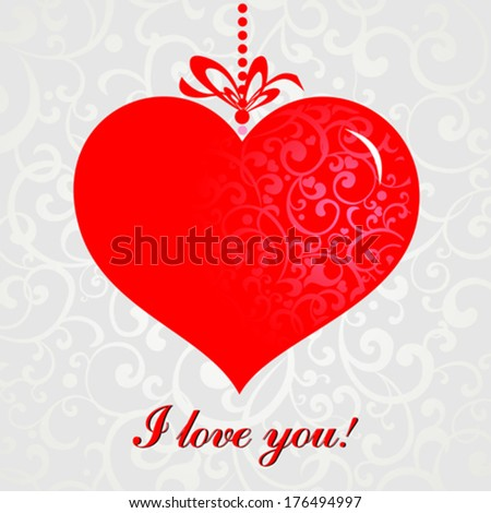 Valentine's day. I love you. Celebration background with heart and place for your text. Vector Illustration  - stock vector