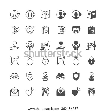 Valentine's day icons, included normal and enable state. - stock vector