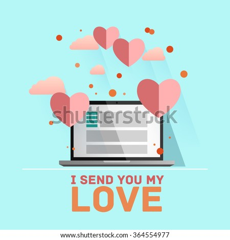 Valentine's day illustration. Receiving or sending love emails for valentines day, long distance relationship. Flat design, vector illustration - stock vector