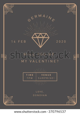 valentine's day invitation card template vector/illustration - stock vector