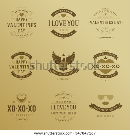 Valentine's Day labels, badges, heart icons, symbols, greetings cards,, illustrations and typography vector design elements. Valentines day cards, Valentines Logos, Valentines Day Vector Labels.  - stock vector