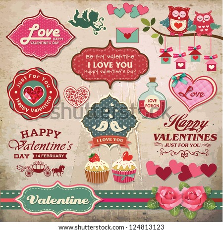 Valentine's day labels, icons elements collection - stock vector