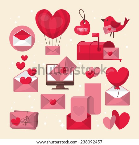 Valentine's day love letter and email icons design - stock vector