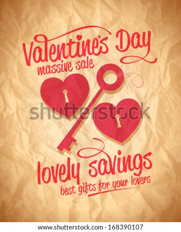 Valentine`s day lovely savings typographic design with key and hearts. Eps10 - stock vector