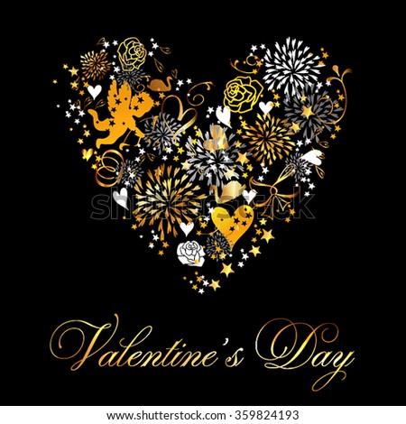 Valentine's Day Party Invitation - stock vector