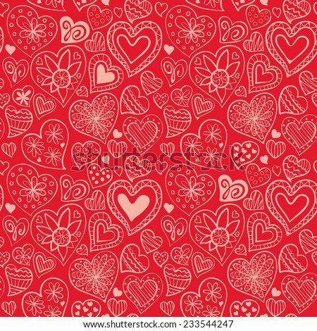 Valentine's day pattern with heart - stock vector