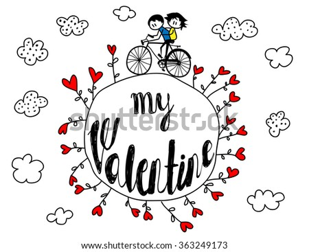 Valentine's Day Poster - Cute stick-figure couple riding bike around the planet planted with hearts. Hand drawn line art illustration - stock vector