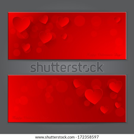 Valentine's day red banner with paper hearts. - stock vector