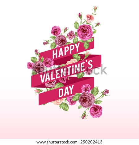 Valentine's day ribbon. Holiday background with ribbon and flowers for your design - stock vector