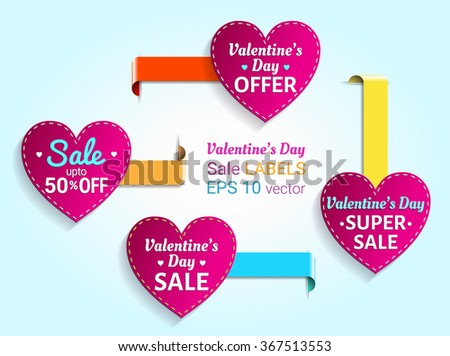 Valentine's day sale heart labels. EPS 10 vector. - stock vector