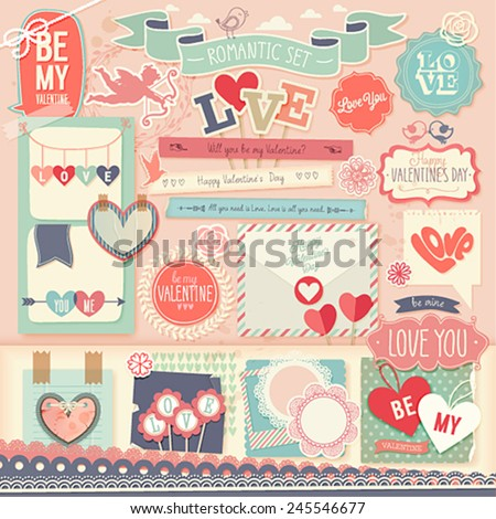 Valentine`s Day scrapbook set - decorative elements. Vector illustration. - stock vector