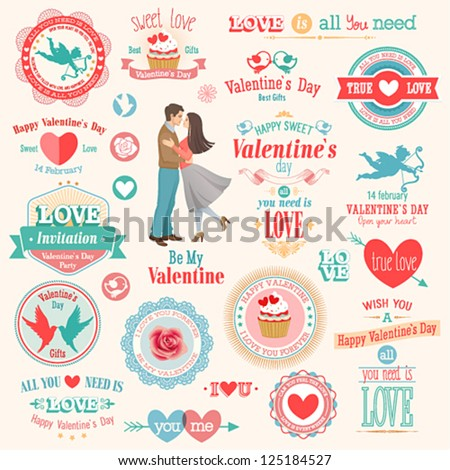 Valentine`s Day set - labels, emblems and other elements. Vector illustration. - stock vector