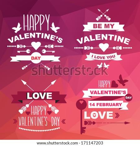 Valentine's Day set of symbols.Typography.Vector illustration. - stock vector