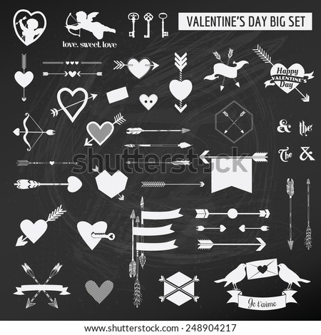 Valentine's Day Set - on chalk boarder - Hearts, Arrows, Keys, Cupids, Labels - in vector - stock vector