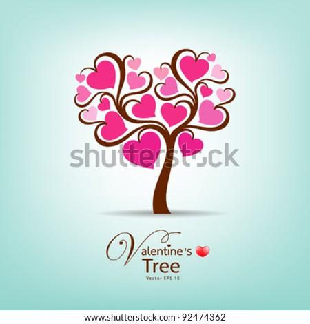 Valentine's Day Tree, vector illustration - stock vector