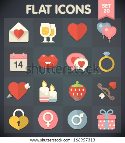 Valentine's Day: Universal Flat Icons for Web and Mobile Applications Set 20 - stock vector