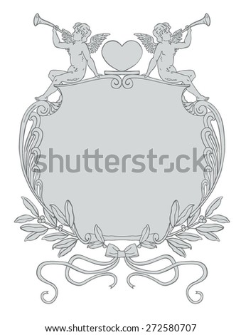 Valentine's Day Vector Frame with Cupid Sitting on a Frame Made of Laurels, Ribbons, Filigree and Hearts. Vintage Style Vector Artwork, Angel Cupid Trumpet Announcement Background - stock vector