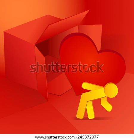 Valentine's day vector illustration with red box and man carrying heart eps 10 - stock vector
