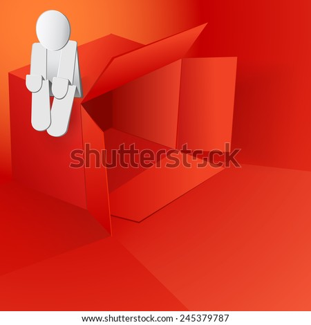 Valentine's day vector illustration with red box and paper man on top eps 10 - stock vector