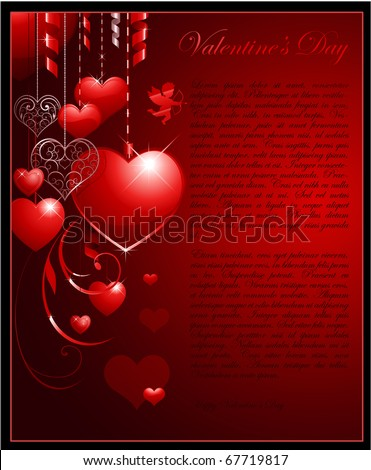 Valentine's day vertical background with heart and place for text - stock vector