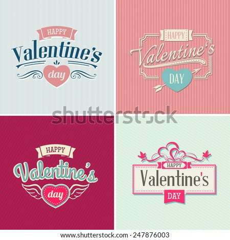Valentine's day vintage lettering background - stock vector