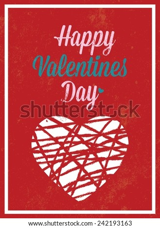 Valentine's Day vintage template / poster / card with HAPPY VALENTINE'S DAY inscription / Typographic vector illustration - stock vector