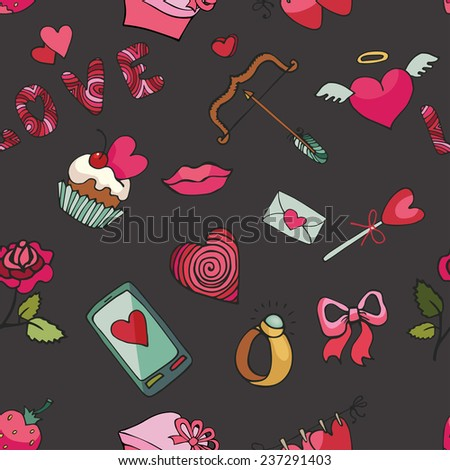 Valentine's day,wedding,love,romantic decor elements in seamless pattern.Cute Doodle hand drawing decor set.Colored cartoon vector.For fabrics / Wallpaper / background / wrapping paper,backdrop. - stock vector