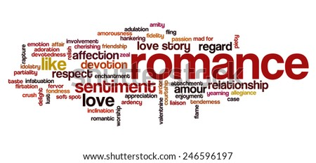 Valentine's Day word cloud concept including terms such as love, love story, romance, kiss, boyfriend, girlfriend, Cupid and others - stock vector