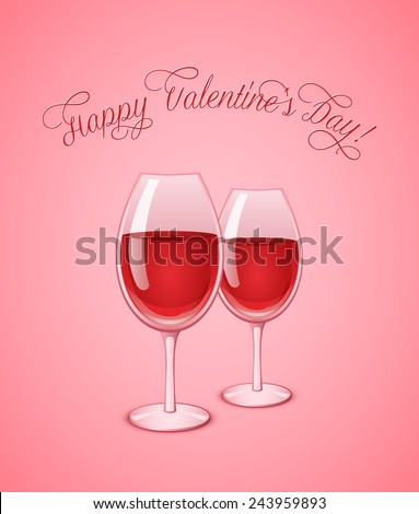 Valentine's wineglasses with red wine on pink background. Wine glass vector illustration - stock vector