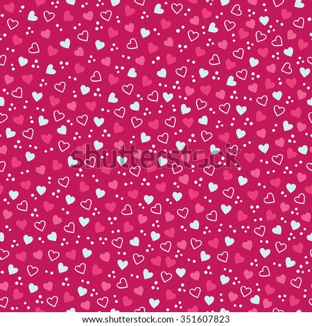 Valentine seamless pattern with confetti and hearts. Perfect for holiday invitations, St. Valentine's Day greeting cards, decorations, wallpaper, pattern fills, gift paper - stock vector