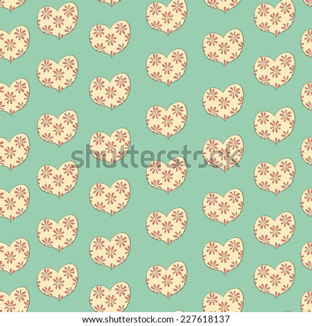 valentine seamless pattern with hearts - stock vector