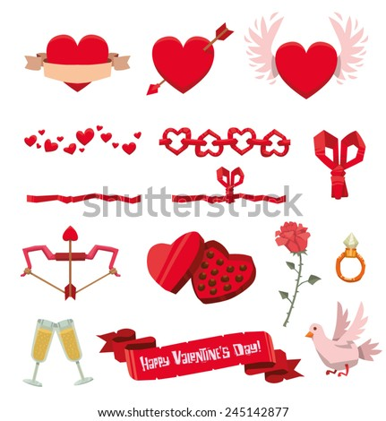 valentine set, vector - stock vector