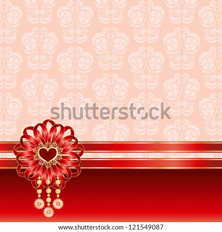 Valentine square background with a bow - stock vector