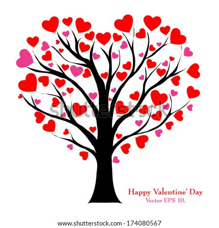 Valentine Tree with Love Heart, Valentine' Day concept, Vector Illustration EPS 10. - stock vector