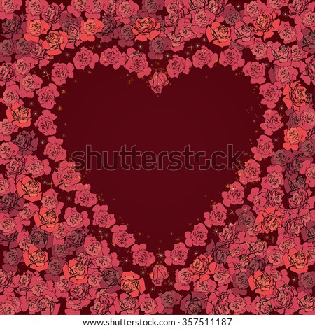 valentine vector frame with flowers of roses  - stock vector